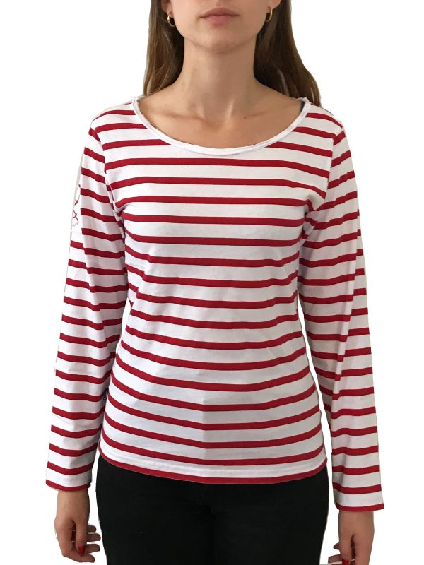 B FTS rayeml red 600x800 - Tee-shirt manches longues femme CROISETTE