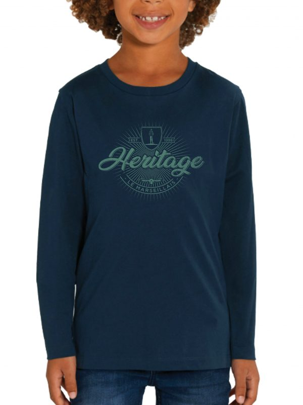"Tee shirt manches longues enfant Heritage 600x800 - Tee-shirt Manches longues ""Héritage"" enfant - Bleu Marine"